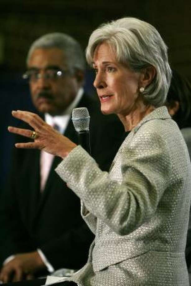 The Obama administration dispatched Health and Human Services Secretary Kathleen Sebelius, seen here last week in Virginia, to meet with the governors. Photo: Jacquelyn Martin, AP