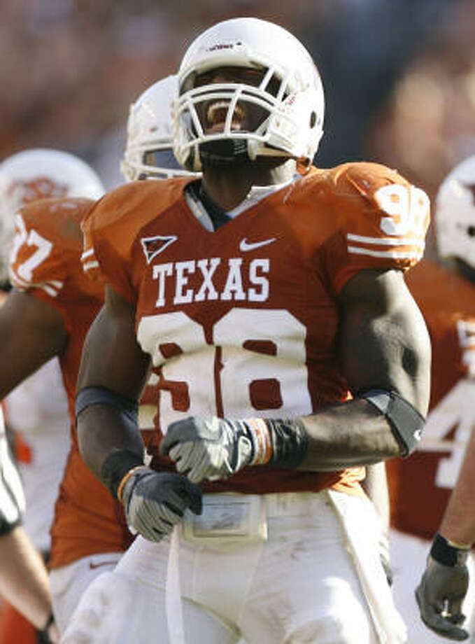 Brian Orakpo, who will be a lineman or a linebacker, will be drafted mostly for his pass rush abilities. Photo: Julio Cortez, Houston Chronicle