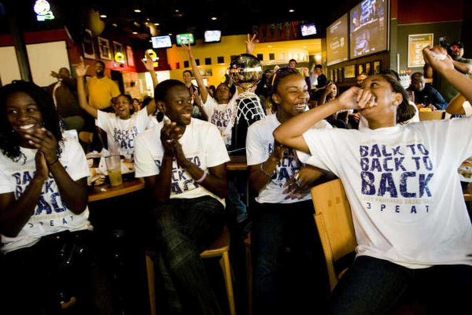 From left, Prairie View A&M Lady Panthers basketball players Dieynaba Toure, Aminata Dieye, Twila Stokes and Candice Thomas react to the announcement that they will play Oklahoma in the NCAA tournament. Photo: Eric Kayne, Chronicle