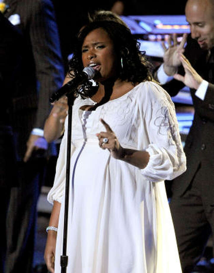 Singer Jennifer Hudson performs at the Michael Jackson public memorial service held at Staples Center on July 7 in Los Angeles. Photo: Kevork Djansezian, Getty Images