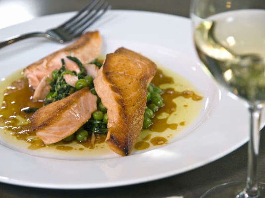Salmon With Pea Shoots and Soy Ginger Vinaigrette Photo: ANGIE MOSIER