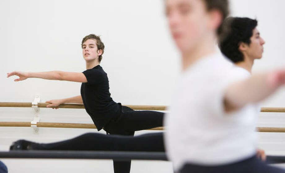 Sebastian Concha, 17, rear, a member of Houston Ballet's pre-professional company, won one of six scholarships at the prestigious Prix de Lausanne competition. Photo: NICK De La TORRE, CHRONICLE