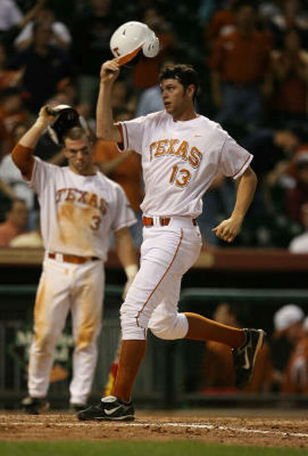 University of Texas first baseman Brandon Belt has always been near the UT-A&M rivalry. Photo: Billy Smith II, Houston Chronicle