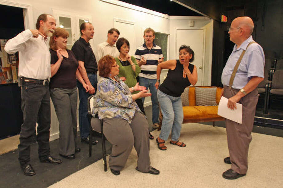 Members of Cast Theatrical include, from left, Lee Mathis, Sharon Appel, Ron Saville, John Bevil and Jeff Hochreiter; in front: Judy Redenius, Jo Trull and Sara Martinez.  Bill Long, right, is founder and director. Photo: Suzanne Rehak, For The Chronicle