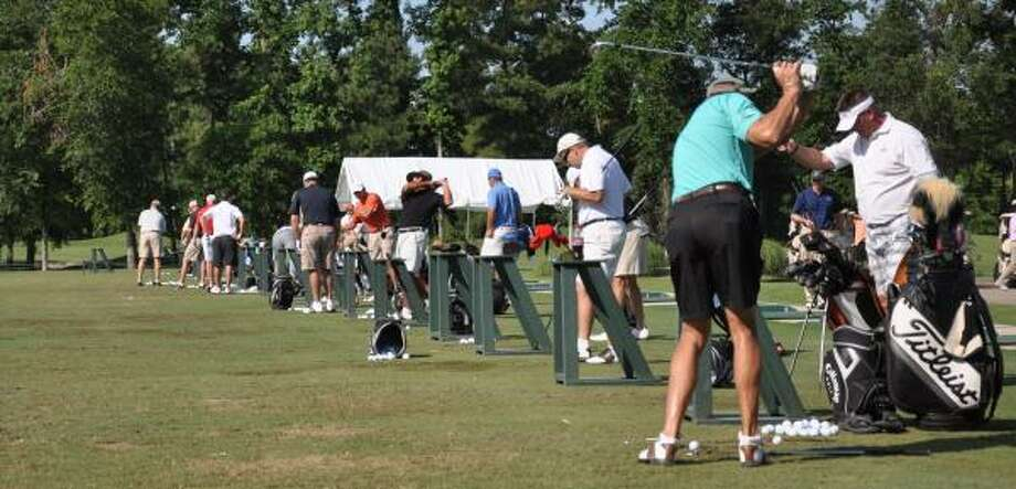 Players, with handicaps ranging from plus-3 to 10, prepare for a Texas Skins & Open event.