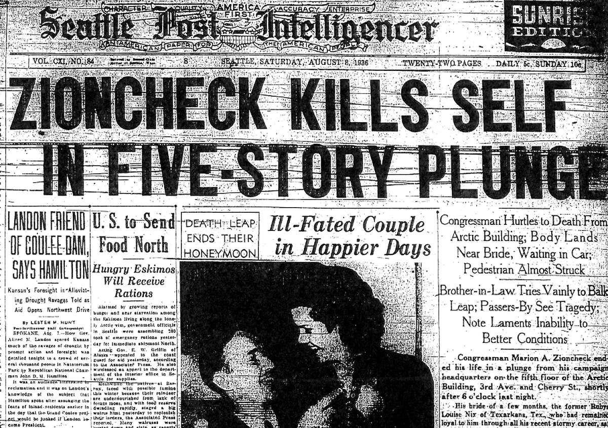 The Seattle Post-Intelligencer headline about Marion Zioncheck's death, Aug. 8, 1936.