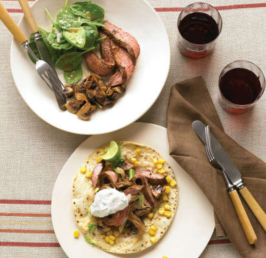 You get a two-fer when you serve Seared Steak With Roasted Mushrooms and Spinach Salad . Reserve some of the meat and your next dinner will be Steak Tostadas With Cilantro Sour Cream. Photo: DANA GALLAGHER:, EVERYDAY FOOD