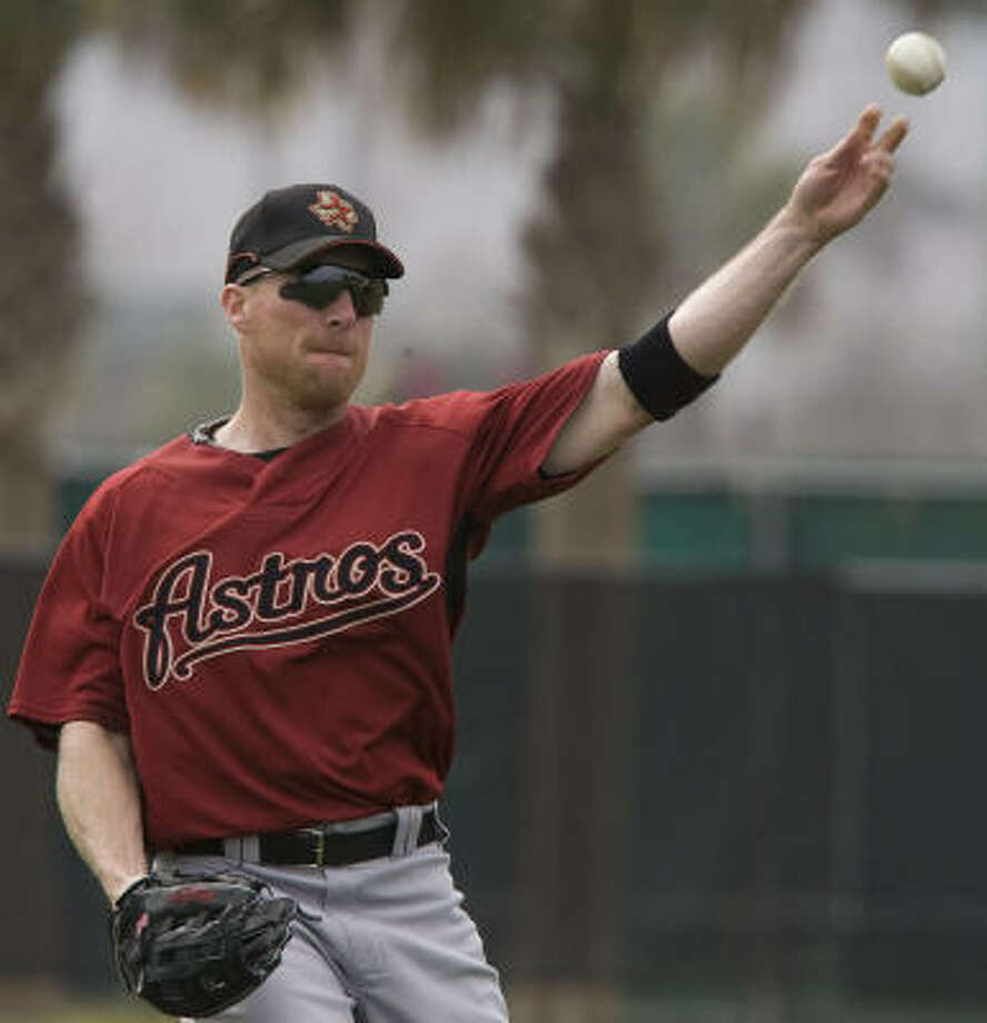 X-rays taken Monday revealed a small fracture on Darin Erstad's right cheekbone. Photo: James Nielsen, Houston Chronicle