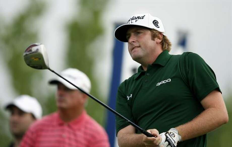 Steve Marino follows his tee shot on the 18th hole during the third round of The Barclays. Photo: Mel Evans, AP