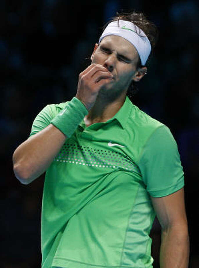 Wednesday's loss leaves Spain's Rafael Nadal hurting and out of the running in the ATP Finals. Photo: Kirsty Wigglesworth, AP