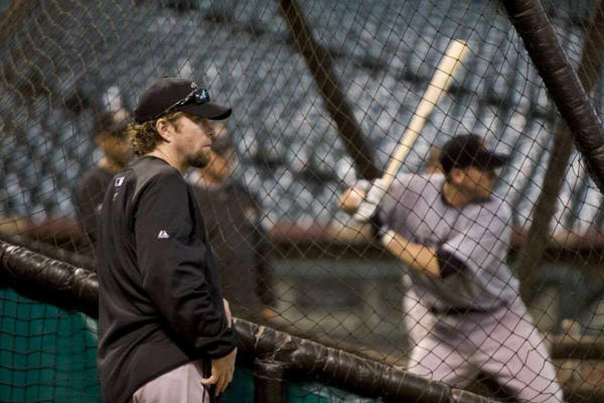 Part of Jeff Bagwell's job with the Astros involves evaluating young players.