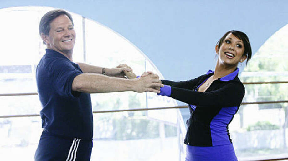 Former House Majority Leader Tom DeLay and his partner, Cheryl Burke, prepare for their appearance on ABC's Dancing With the Stars. Burke is a two-time Stars champ. Photo: ABC