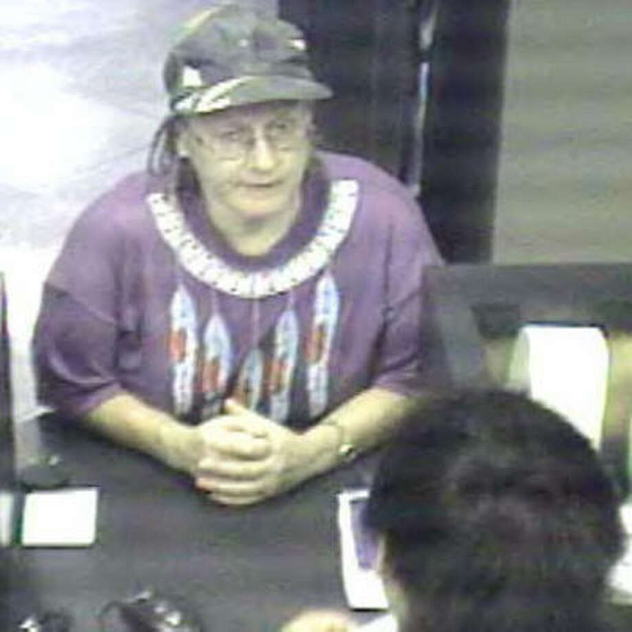 This photograph was taken during one of two bank robberies on Sept. 25.