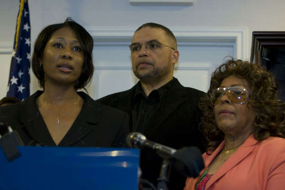 Members of the Houston NAACP branch, including Executive Director Yolanda Smith, left, vice-president D.Z. Cofield, center, and President Carol Mims Galloway, right, discussed on Tuesday how they plan to work with Bellaire officials to deal with accusations of racial profiling. Photo: James Nielsen, Chronicle