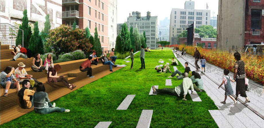 """The High Line, a 1.5-mile """"garden in the sky"""" built on abandoned railroad tracks, is depicted in this artist's illustration. The elevated green space winds through three neighborhoods. Photo: CITY OF NEW YORK"""