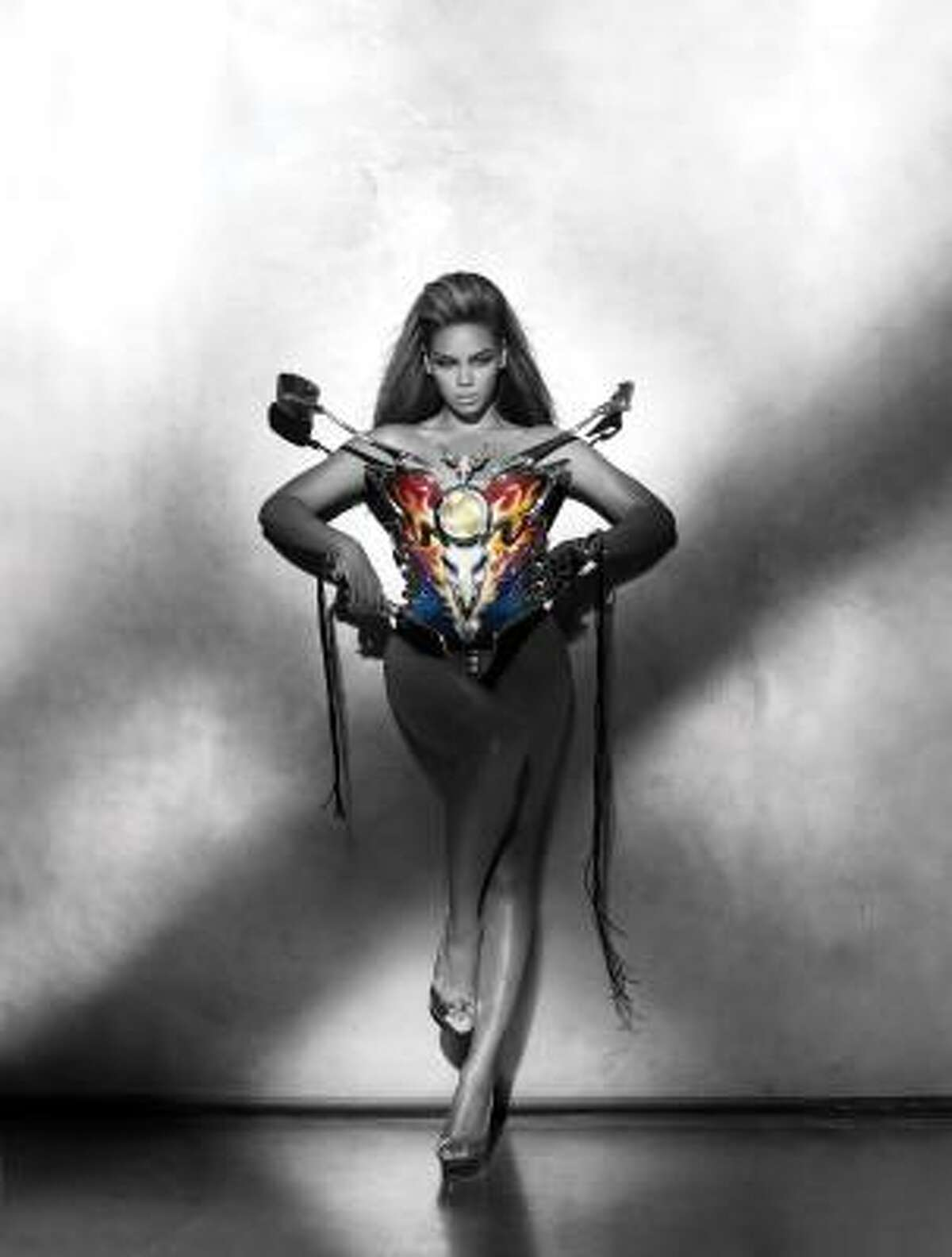 Beyonce dons a motorcycle bustier designed by Thierry Mugler for a photo on her album I AM ... Sasha Fierce.