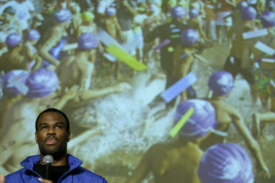 Former U.S. Olympian and NBA star David Robinson was among those Thursday in Copenhagen stumping for Chicago to host the 2016 Games. Photo: MATT DUNHAM, AP