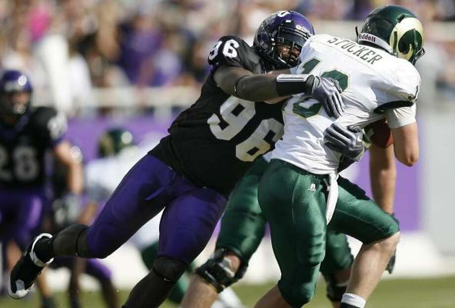 TCU defensive end Jerry Hughes is among four finalists for the Rotary Lombardi Award. Photo: Mike Stone, AP