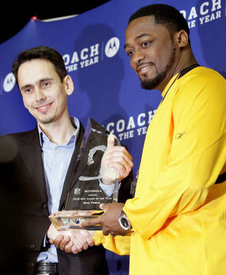In just his second year as the Steelers coach, Mike Tomlin wins the Motorola Coach of the Year award. Photo: Gene J. Puskar, AP