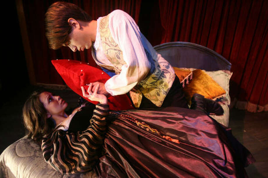 Switching roles: Ned Kynaston (Chris Rivera)  finds new purpose coaching aspiring actress Margaret Hughes (Christie Guidry Stryk) in his old role as Desdemona. Photo: Mayra Beltran, Chronicle