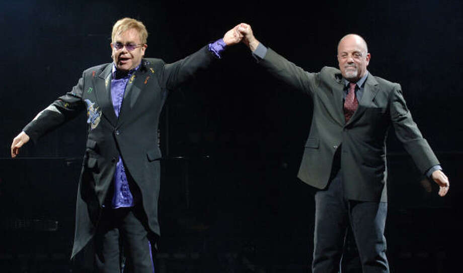 Singers Elton John, left, and Billy Joel kicked off their Face 2 Face concert tour March 2 in Jacksonville, Fla. Photo: Bob Self, AP