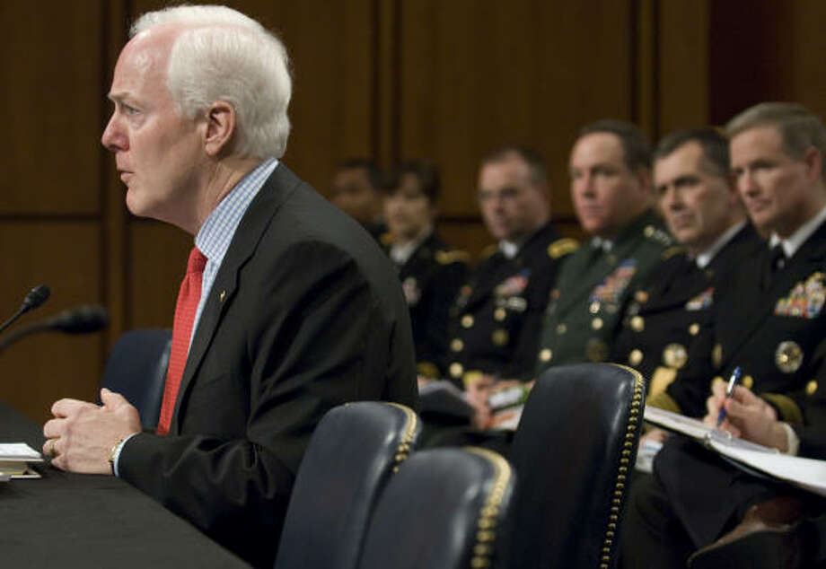 "Sen. John Cornyn (shown at Wednesday's hearing) recounted a recent visit to a recruiting station in Houston. He said he heard firsthand about the ""tremendous stress"" on recruiters to meet monthly quotas, especially in wartime. Photo: Jonathan Ernst, For The Chronicle"