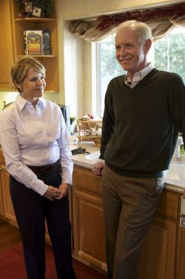 """ON 60 MINUTES: Capt. Chesley """"Sully"""" Sullenberger poses with Katie Couric at his home in Danville, Calif., for his first interview since he landed in the Hudson River with no fatalities. Photo: Sam Painter, CBS"""