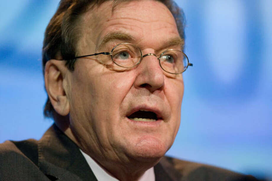 H.E. Gerhard Schroder, former Chancellor of the Federal Republic of Germany and chairman of the committee, Nord Stream, speaks at the CERAWeek conference. Photo: STEVE CAMPBELL, Chronicle