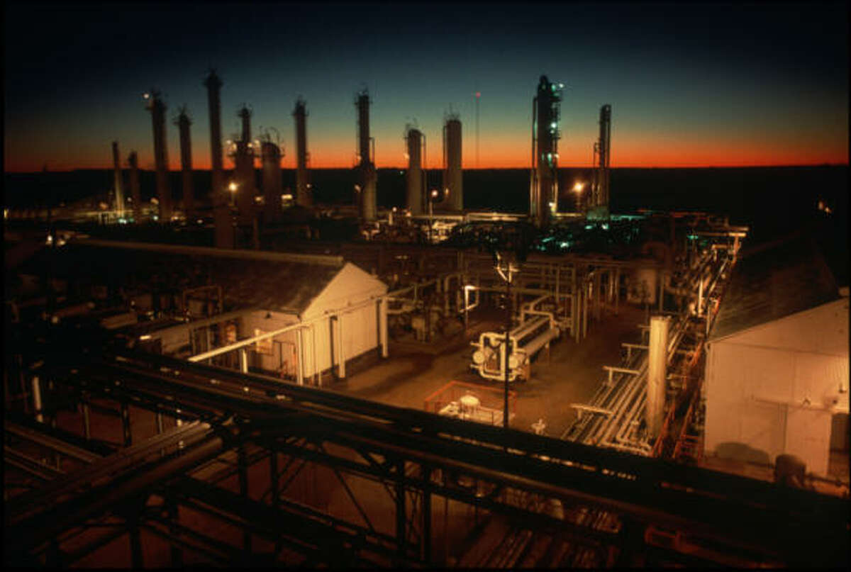 Mitchell Energy's Bridgeport processing plant in North Texas has a daily capacity of 210 million cubic feet of natural gas.