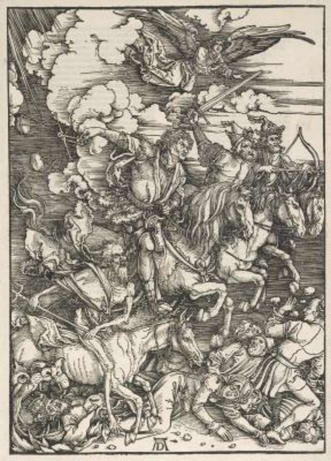 THE FOUR HORSEMEN (1498): From The Apocalypse by Albrecht Dürer, German, 1471-1528. Woodcut. Photo: MUSEUM OF FINE ARTS, HOUSTON