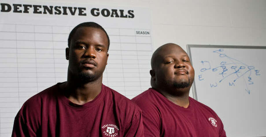 Defensive coaches Archie McDaniel, left, and Tremaine Jackson plan to turn around TSU's defense. Photo: Nick De La Torre, Chronicle