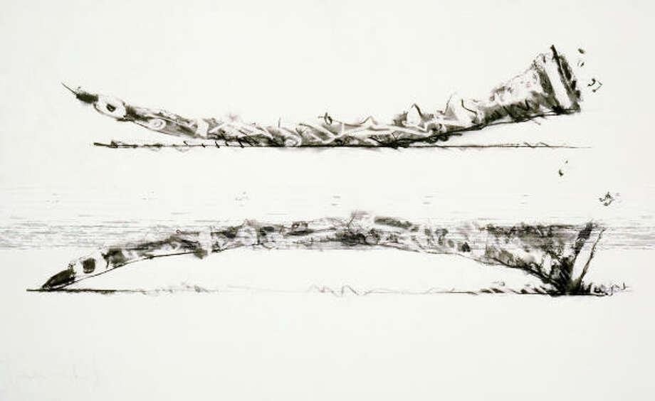 Claes Oldenburg and Coosje van Bruggen; Clarinet Bridge, Two Positions, 1992 charcoal on paper Photo: Ellen Page Wilson