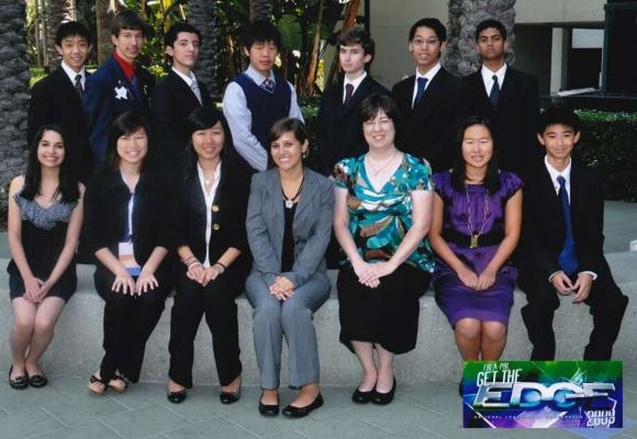 Seven Lakes High School's Future Business Leaders of America chapter members competed in California. Members include, from left, top row: Brennan Foo, Jared Mortus, Daniel Hidalgo, David Xu, Xavier Beynon, Danny Nguyen and David Polson; bottom row: Paola Barbieri, Amy Wang, Mary Yang, Brittney Valdez, business teacher Colleen Thuesen, Shannon Cheng and Larry Tran. Photo: Seven Lakes High School