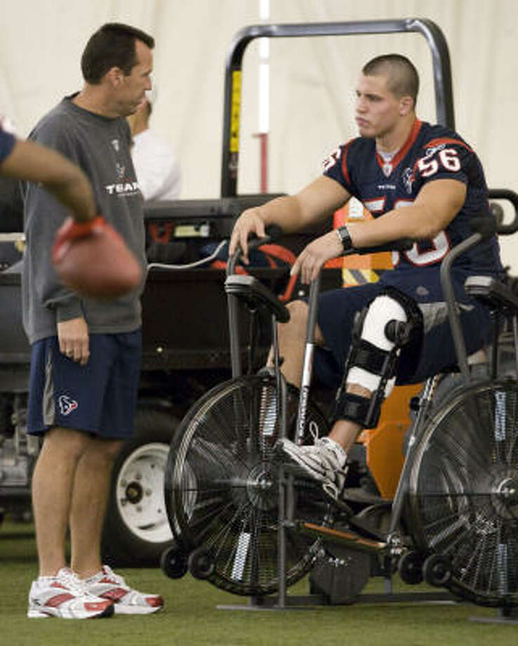 Brian Cushing, right, could trade in the bicycle for the pads and see his first preseason action Friday. Photo: Brett Coomer, Houston Chronicle