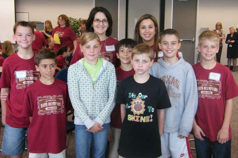 THE BEST: The Bear Branch Elementary team took first place in the recent district math olympiad tournament. Tyler Crump, left, Cameron Arceneaux, Emily Bocock, Ronan Padhye, Eric Broussard, Matthew Chamness and Ben Litchfield. In the back are teachers Sandra Beilue and Angela Knight.