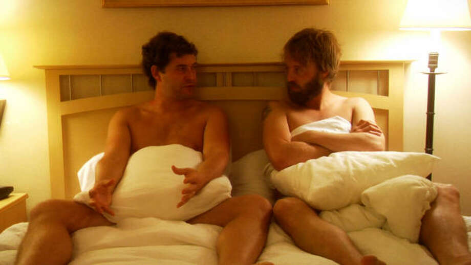 Mark Duplass, left, and Joshua Leonard play two straight guys talking about having sex for a gay porn film in the comedy Humpday. Photo: Magnolia Pictures.