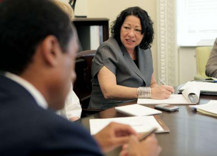 Judge Sonia Sotomayor meets with members of the White House legal staff earlier this month. Photo: DOUG MILLS, NYT
