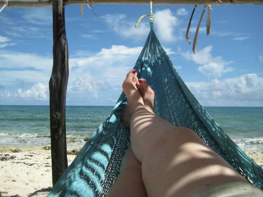 968: View from a hammock at Mezcalito's, on the eastern coast of Cozumel, Mexico. Photo by Linda Dennison Photo: Linda Dennison, Freelance / Freelance