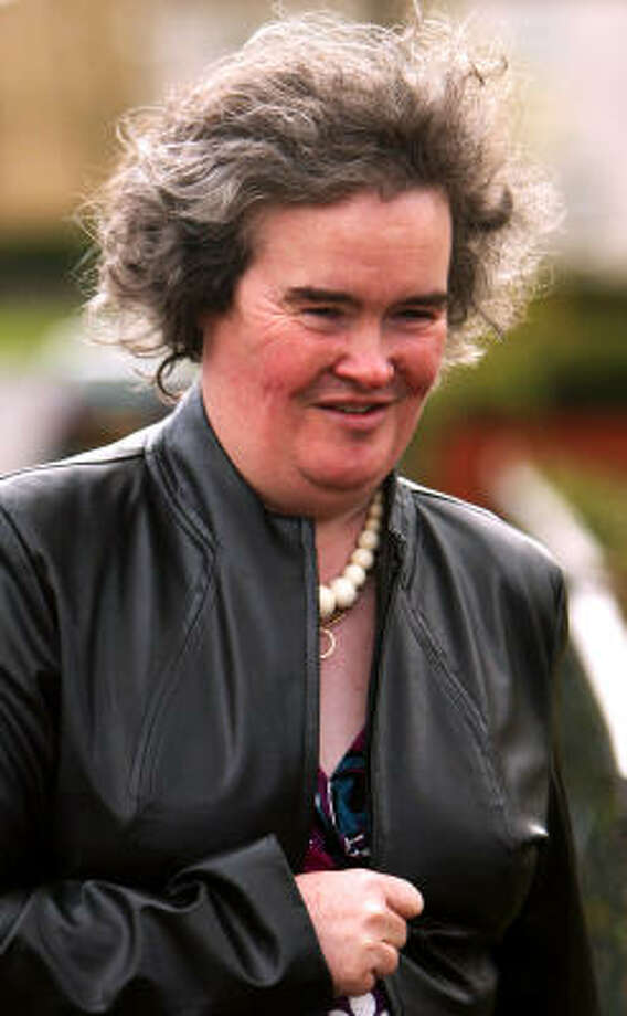 Susan Boyle, shown outside her home in Blackburn, Scotland. Photo: Jeff J Mitchell, Getty Images