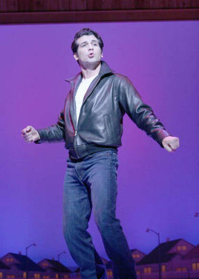 Joey Sorge stars as Fonzie in the TUTS presentation of Happy Days. Photo: Gerry Goodstein