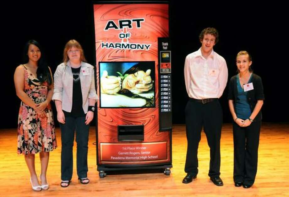 REWARDED: Hong Yen Le, left, Ashley Feyes, Garrett Rogers, and Amber Gonzales all received recognition for their artwork.