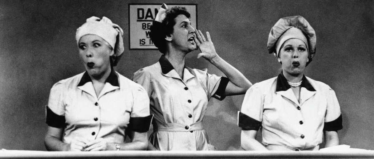 """The """"I Love Lucy"""" show first aired on Oct. 15, 1951. Today, Lucille Ball's legacy remains remarkable - and her talent remarkably fresh and watchable. In this undated TV image originally released by CBS, Vivian Vance, left, and Lucille Ball, right, are shown in a scene from the series, """"I Love Lucy.""""(AP Photo/CBS, file)"""
