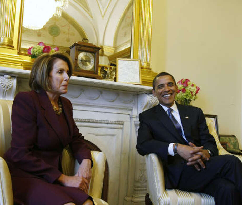 President-elect Barack Obama meets with House Speaker Nancy Pelosi of California in her office on Capitol Hill in Washington today. Photo: Gerald Herbert, AP