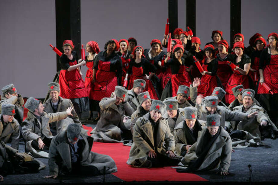 Besotted soldiers and their angry wives sing the Wailing Chorus from Mussorgsky's rarely performed Khovanshchina. The fascinating sequence is one of the highlights of Houston Grand Opera's premiere spectacle Chorus!, celebrating great choral music from 300 years of opera. Photo: Felix Sanchez
