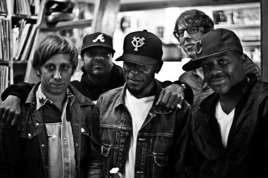 Dan Auerbach, from left, of the Black Keys, Jim Jones, Mos Def, Patrick Carney of the Black Keys and rap producer Damon Dash collaborated on the Blakroc album to produce a stripped-down masterpiece. Photo: Jonah Schwartz