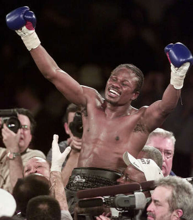 In this Jan. 26, 2002 photo,Vernon Forrest of Atlanta, Ga., celebrates his 12-round unanimous decision victory over Shane Mosely for the WBC World Welterweight Championship at Madison Square Garden in New York. Photo: JEFF ZELEVANSKY, AP