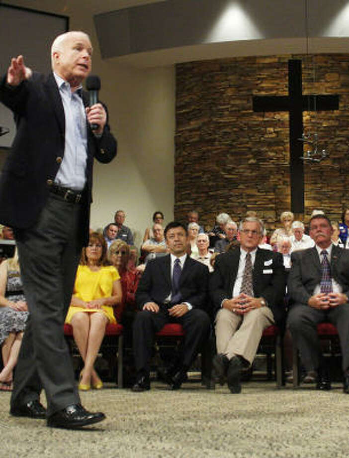 Grace Bible Church in Sun City, Ariz., was the setting Aug. 25 when Sen. John McCain spoke during a town-hall meeting to discuss health-care reform. Photo: JOSHUA LOTT:, GETTY IMAGES