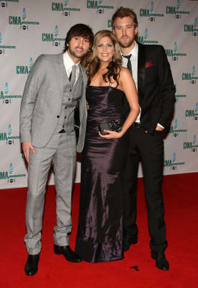 From left, Dave Haywood, Hillary Scott and Charles Kelly of Lady Antebellum. Photo: Bryan Bedder, Getty Images