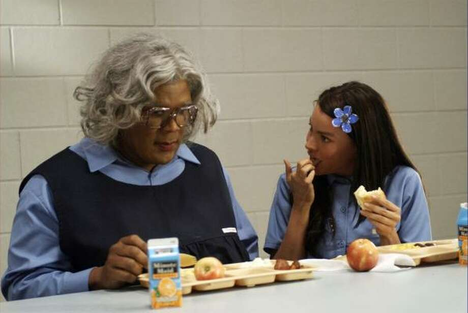 Madea (Tyler Perry), left, and T.T. (Sofia Vergara) appear in Tyler Perry's Madea Goes to Jail, the weekend's No. 1 movie. Photo: Alfeo Dixon, AP