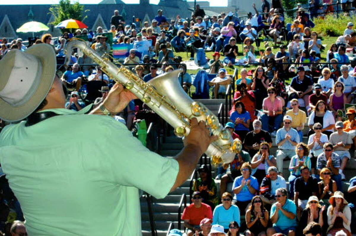 Grammy winning jazz saxophonist Joe Lovano entertains a packed crowd at the Corning Preserve during the Albany Riverfront Jazz Festival in Albany. (Michael P. Farrell, Times Union Staff Photo, 2005)